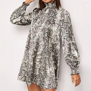 Shirred Panel Lantern Sleeve Snakeskin Tunic Dress